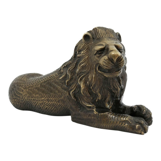 Vintage Bronze Lion Figurine For Sale