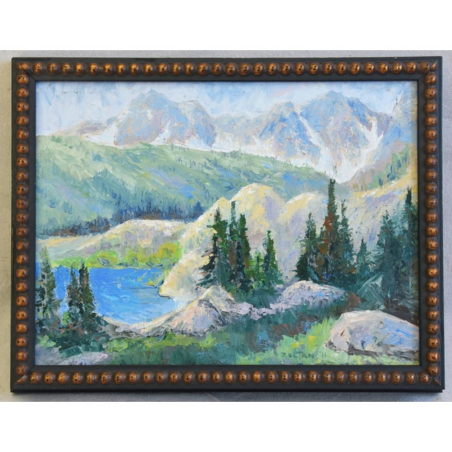 Plein air oil painting on artist canvas panel of the California mountian and lake landscape. Signed by the artist in the...