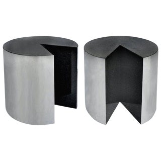 Pace Collection Stainless Steel and Granite Side Tables, Pair For Sale