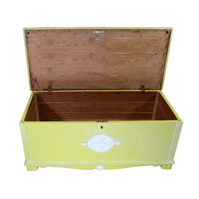 """Antique solid mahogany and red cedar lined blanket or """"hope"""" chest has been updated with citron colored paint and a lime..."""