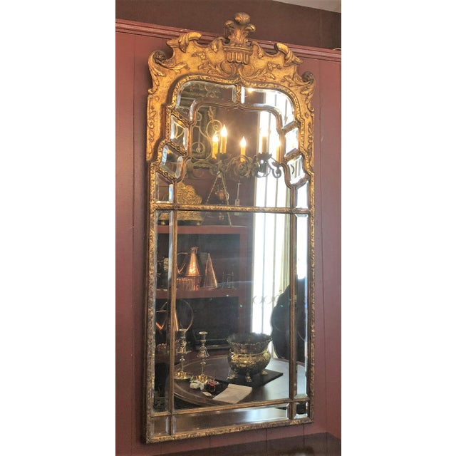Antique Chinoiserie Gold Mirror with Fine Beveling, Circa 1910-1920.