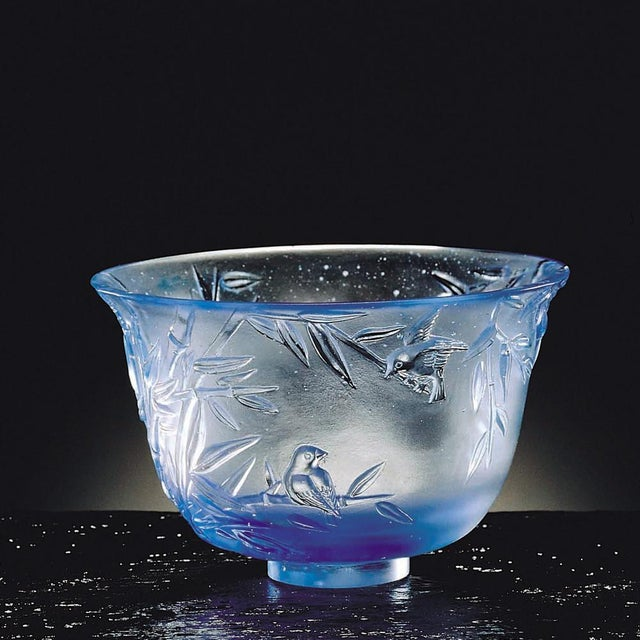 """LIULI Crystal Art Crystal Limited Edition Bamboo Bowl """"The Green Gentleman"""" in Royal Purple For Sale - Image 4 of 4"""
