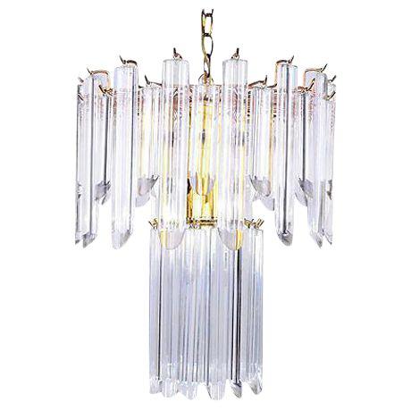 Mid-Century Modern Lucite & Brass Chandelier - Image 1 of 10