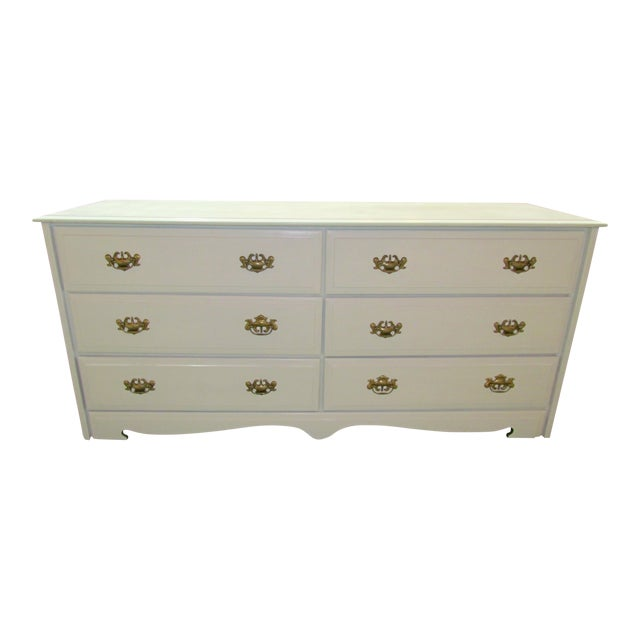 Painted White and Brass 6-Drawer Dresser - Image 1 of 6