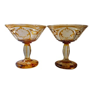 Very Bohemian Cut Crystal Amber Compotes - a Pair