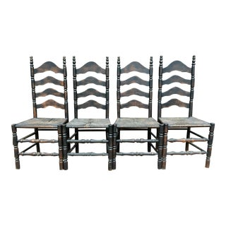 French Farmhouse Ladderback Chairs - Set of 4