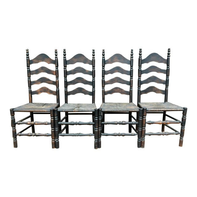 French Farmhouse Ladderback Chairs - Set of 4 For Sale