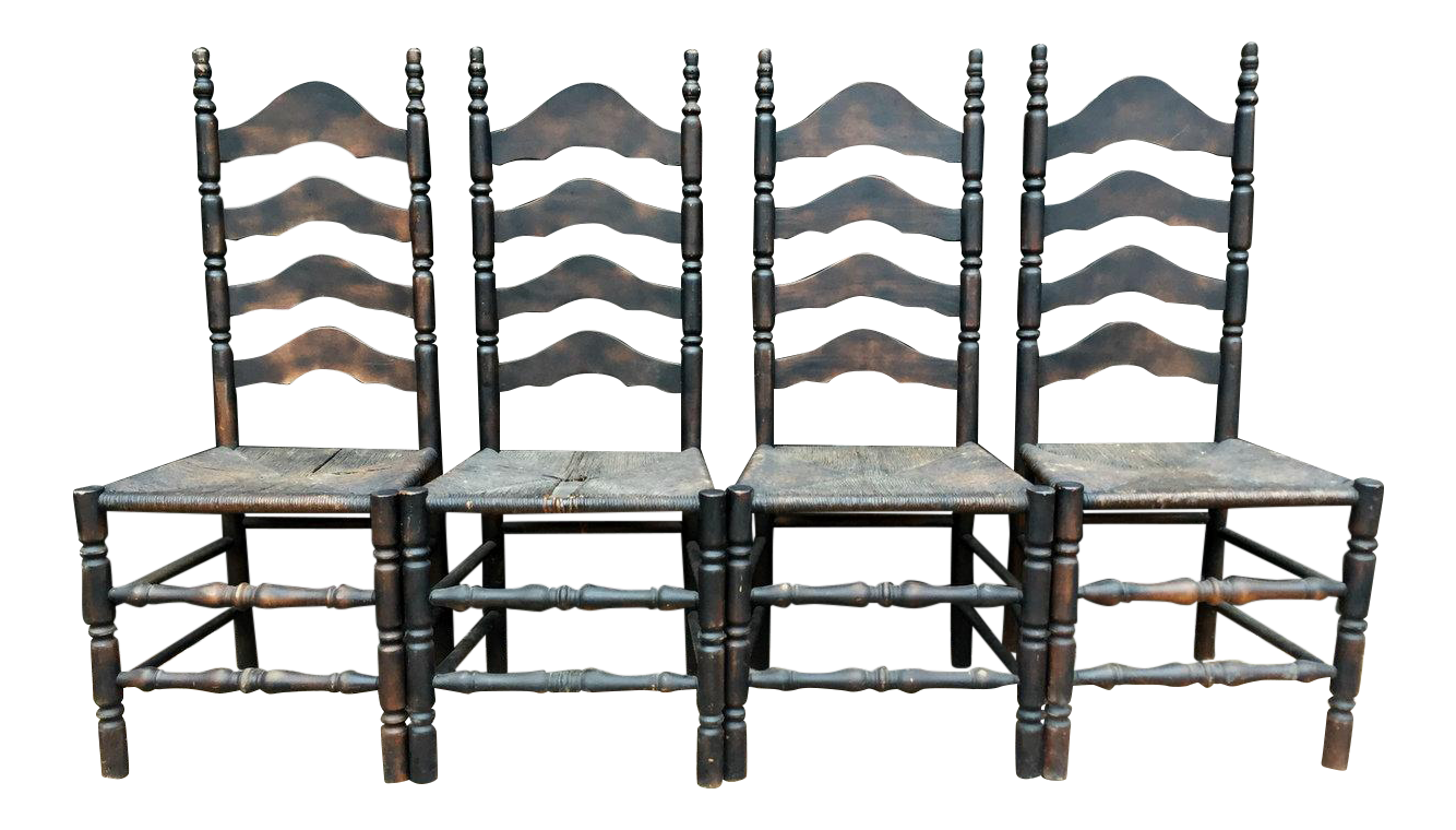 French Farmhouse Ladderback Chairs   Set Of 4