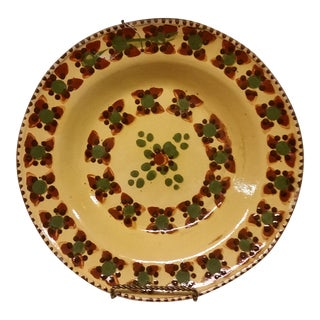 Tlaquepaque Mexican Geometric Floral Hanging Plate For Sale