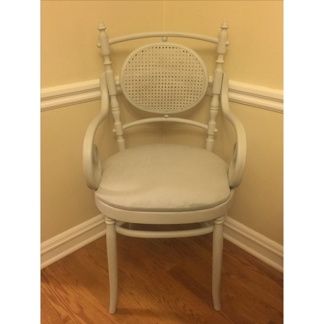 Light Gray Cane Back Chairs - A Pair - Image 3 of 4