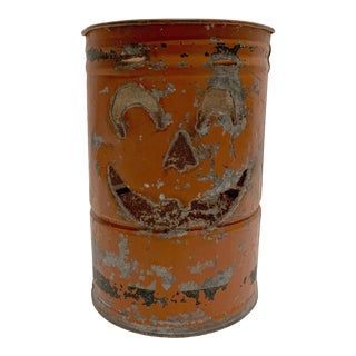 Metal Jack-O-Lantern Container For Sale