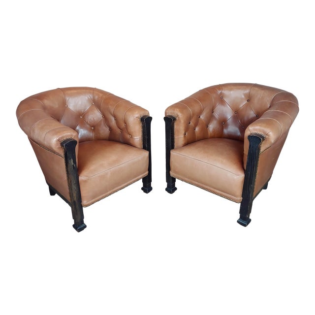 Fabulous Vintage Club Chairs W/Tufted Brown Leather-A Pair For Sale