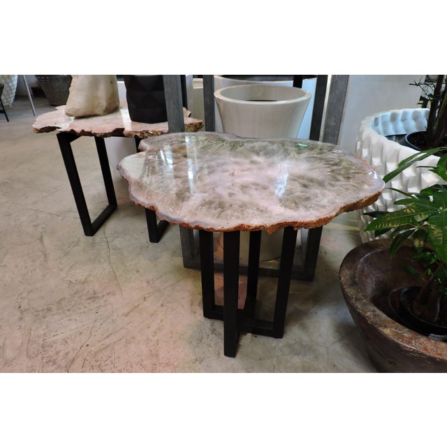 Polished Chalcedony Adventurine Slab Table For Sale In San Francisco - Image 6 of 6