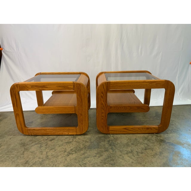 1970s Mid-Century Modern Lou Hodges Oak and Smoked Glass End Tables -- a Pair For Sale - Image 10 of 10