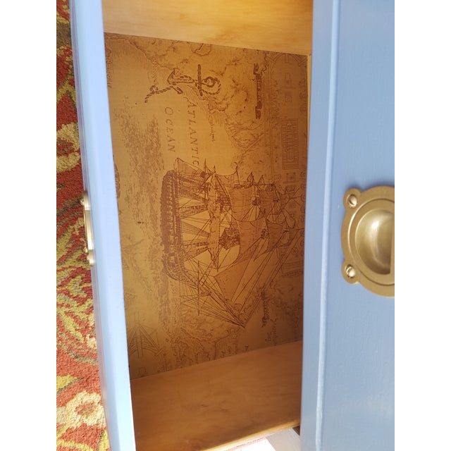 Beautiful handpainted set of light blue night stands. Dovetail joints make it very sturdy, gorgeous nautical theme in the...