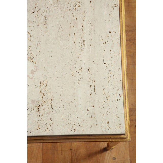 1960s French Midcentury Gilt Iron Coffee Table With Travertine Top by Masion Ramsay For Sale - Image 5 of 6