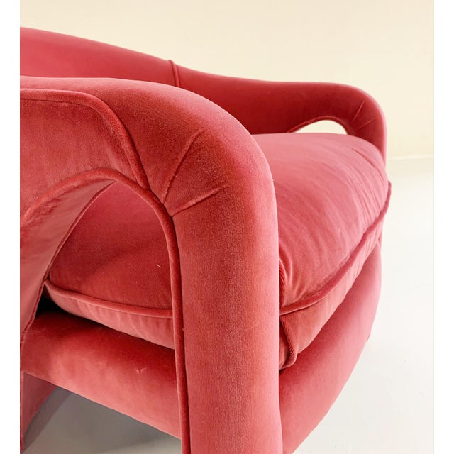 Feather Vintage Vladimir Kagan Style Lounge Chairs Restored in Loro Piana Pink Velvet - Pair For Sale - Image 7 of 9