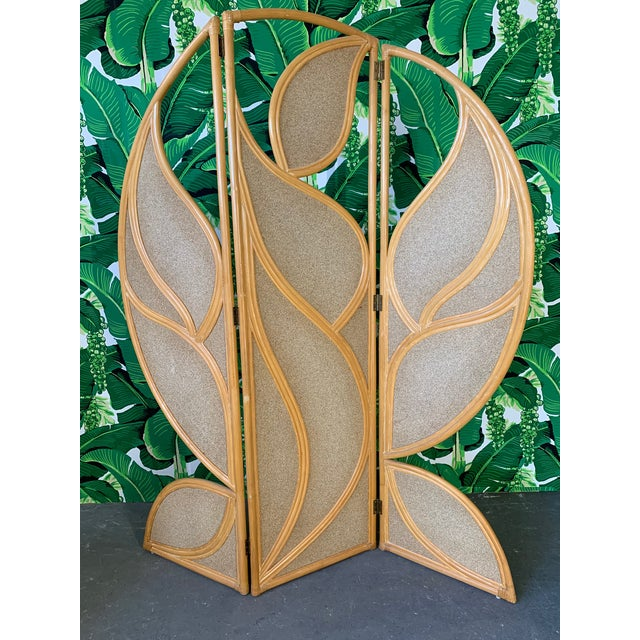Tropical Rattan Room Divider Folding Screen For Sale - Image 9 of 12