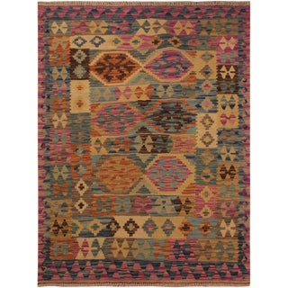 Kilim Arya Leta Purple/Blue Wool Rug -3'4 X 4'10