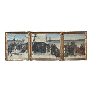 Triptych of Antique Framed Oil Paintings by Robert Carle Depicting Nativity For Sale