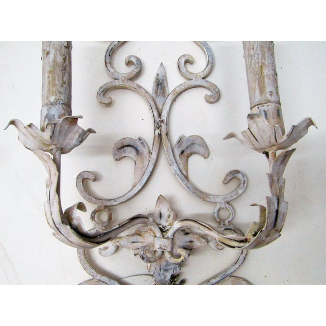 Gorgeous Vintage pair of Wall Sconces, double lamp. The Sconces have been wired to be hardwire mounted. . The pair are...