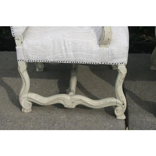 Louis XV Painted Library Chairs From France, Newly Recovered in Faux Bois Linen, Sold as a Pair For Sale - Image 4 of 7