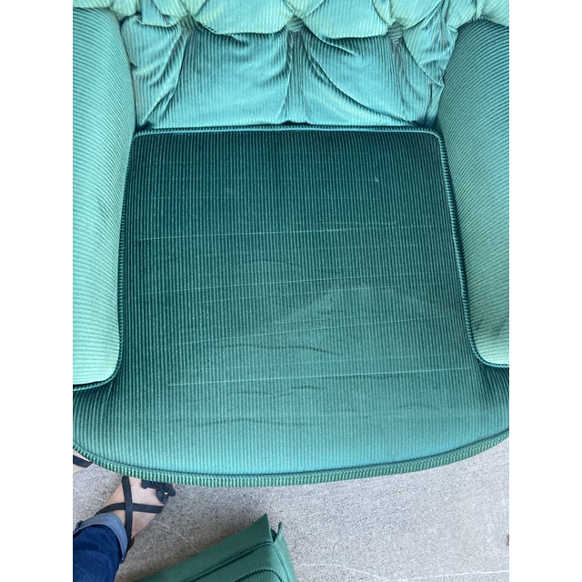 Wood Vintage Broyhill Emerald Green Chair and Ottoman For Sale - Image 7 of 13