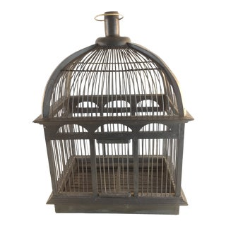 Vintage Blue Wood Bird Cage For Sale