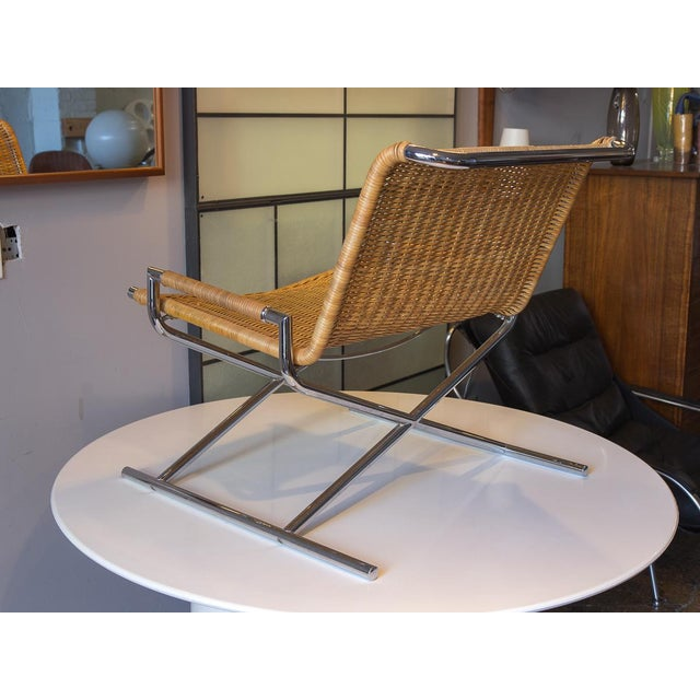Caning Ward Bennett Woven Sled Chrome Chair For Sale - Image 7 of 12