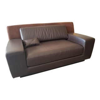 Fendi Brown Leather Loveseat For Sale