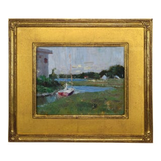 Vintage American Impressionist Marsh Harbor with Sailboat by Harry Barton Painting For Sale