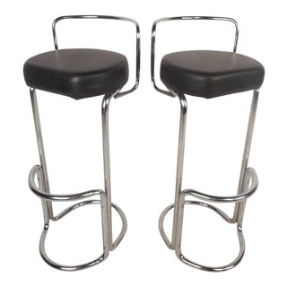 Mid-Century Modern Bar Stools - A Pair For Sale