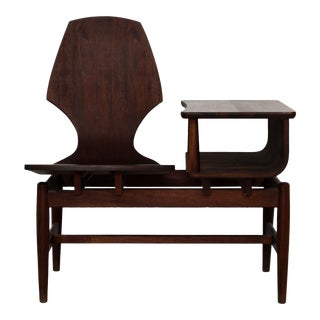 Mid Century Modern Plycraft Bentwood Telephone Gossip Table & Side Chair For Sale