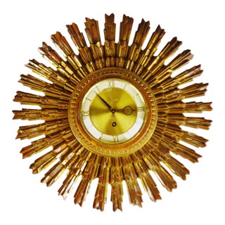 Mid Century Syroco Sunburst 8 Day Jeweled Wall Clock For Sale