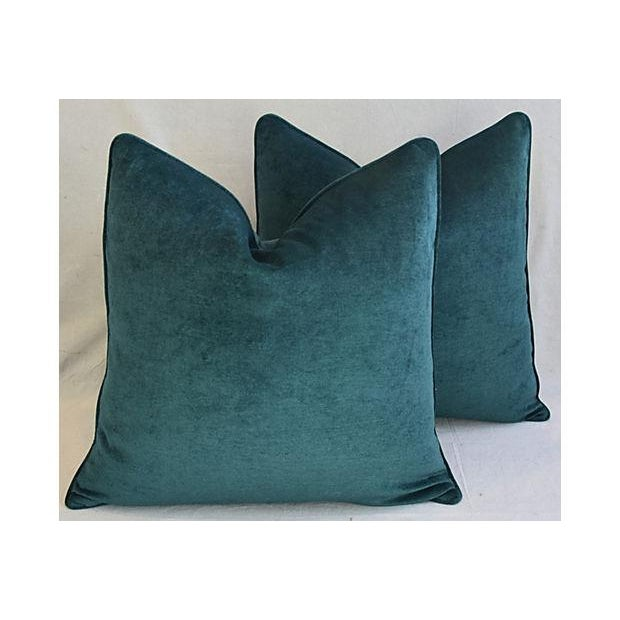 Aqua Marine Green/Turquoise Velvet Feather & Down Pillows - a Pair For Sale - Image 10 of 13