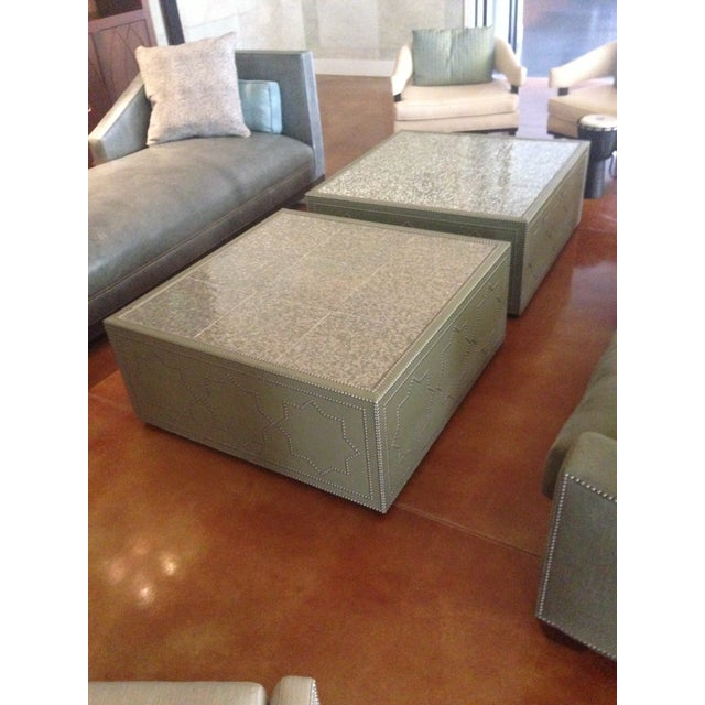 Frank Roop Designed Leather & Mother of Pearl Coffee Table - Image 2 of 6