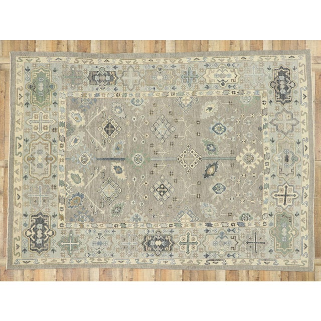 Gray Contemporary Turkish Oushak Rug With Modern Style - 08'11 X 12'07 For Sale - Image 8 of 9