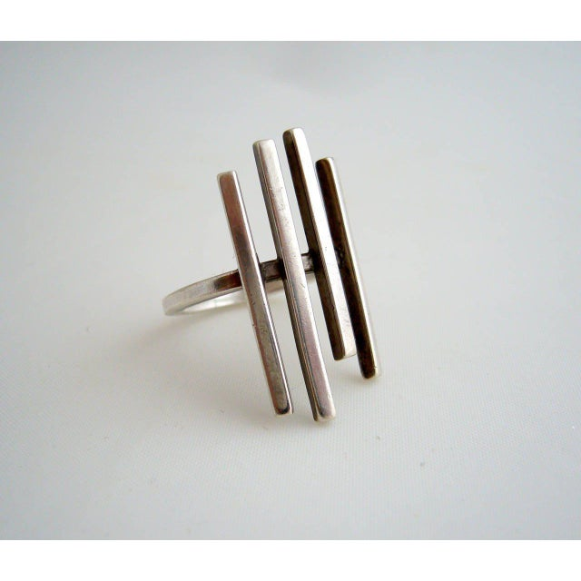Contemporary Betty Cooke Sterling Silver Minimalist Sticks Ring For Sale - Image 3 of 4