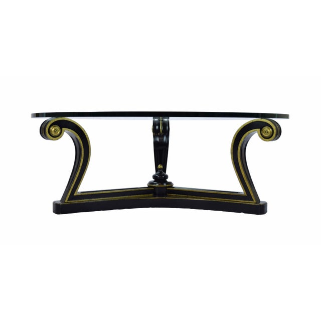 1960s 1960s Empire Ebonized Scroll Glass Top Coffee Table For Sale - Image 5 of 7