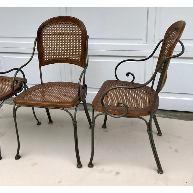Traditional Vintage Iron & Cane Chairs - Set of 4 For Sale - Image 3 of 6