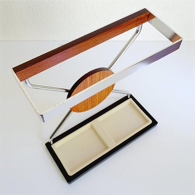 1960s Vintage Danish Midcentury Umbrella Stand in Aluminum and Teak Wood 1960s in Modernist Panton Style For Sale - Image 5 of 10