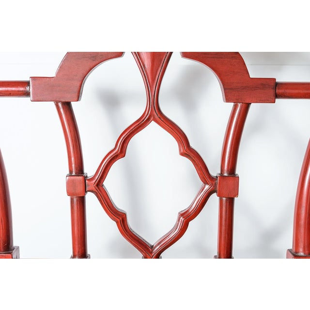 Chinese Red Lacquered Chippendale Style Gothic Chairs With Cane Seats, A-Pair For Sale - Image 4 of 13