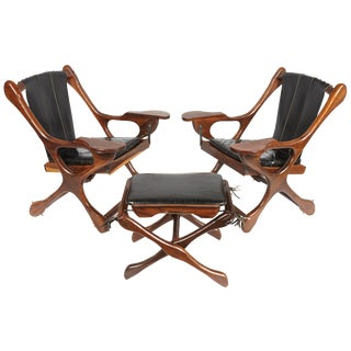 Pair of Don S. Shoemaker Sling Swinger Chairs with Matching Footstool For Sale