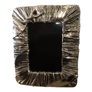 Whimsical Silver Photo or Picture Frame With a Ruched Fabric and Bow Motif For Sale