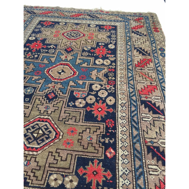 Textile Antique Persian Rug Hand Knotted Caucasian Wool Rug - 3′6″ × 4′9″ For Sale - Image 7 of 8