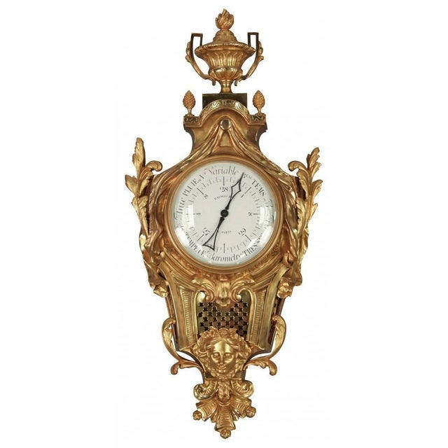 Beautiful antique statement barometer from France. Made of gilt bronze. circa 1870. Measures: 36 inches height x 17inches...