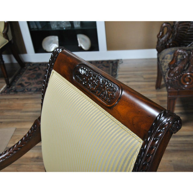 Brown Carved Empire Upholstered Arm Chair - a Pair For Sale - Image 8 of 13