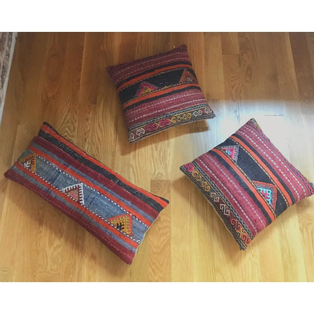 Vintage Turkish Kilim pillow set adds a warmth to any sofa or living room, these are amazing decorative pillows for...