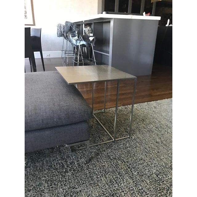 Minotti Minotti Leger Brushed Plate Metal Side Table For Sale - Image 4 of 4