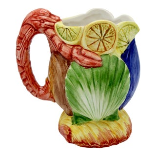 1960s Italian Coastal Ceramic Pitcher With Lobster Handle For Sale